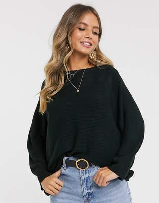 JDY ribbed jumper with crew neck in black