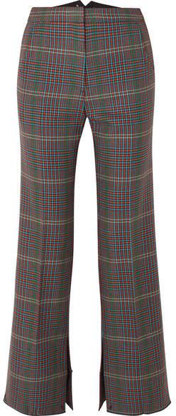 Golden Goose Rendena Checked Wool Wide-leg Pants - Gray