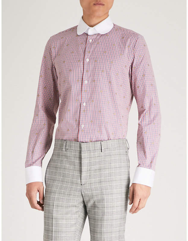 Gucci Checked bee-embroidered regular-fit cotton shirt