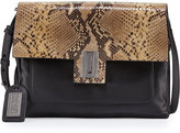 Badgley Mischka Janine Snake-Embossed Leather Crossbody Bag, Black