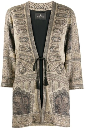 Etro Print Mix Tied-Waist Cardigan