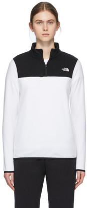 The North Face White and Black TKA Glacier Quarter-Zip Sweater