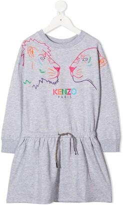 Kenzo Kids Tiger Friends print drawstring dress