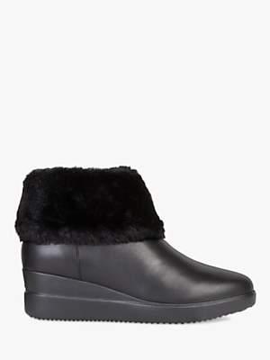 Geox Women's Stardust Wedge Heel Boots, Black