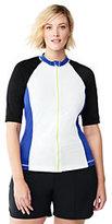 Classic Women's Plus Size Long AquaSport Zip-front Rash Guard-Black/Vivid Cobalt