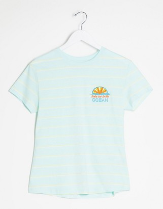 Brave Soul striped t-shirt with ocean embroidered patch