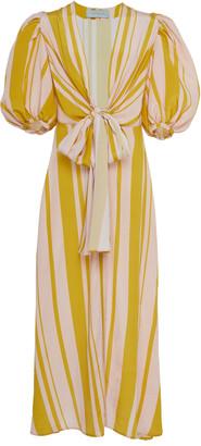 Silvia Tcherassi Fidelia Tie-Front Striped Silk Crepe De Chine Maxi Dr