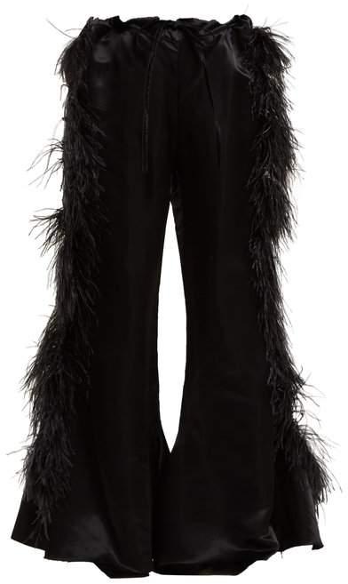 Marques Almeida Marques'almeida - Feather Embellished Kick Flare Satin Trousers - Womens - Black