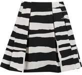 Alice + Olivia Connor Pleated Striped Stretch-Cotton Mini Skirt