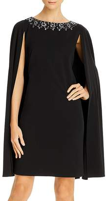 Adrianna Papell Bead Detail Cape Dress