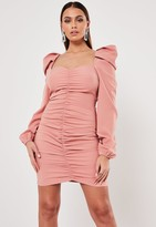 Missguided Blush Ruched Front Milkmaid Mini Dress