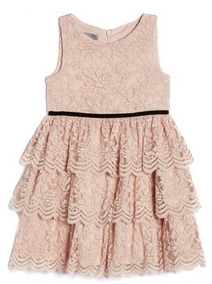Pippa & Julie Kids' Sleeveless Tiered Lace Dress