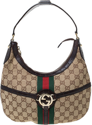 Gucci Beige/Brown Canvas and Leather Web Reins Hobo