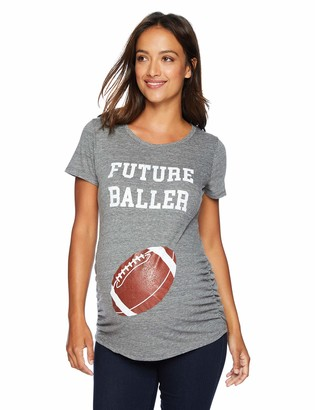 Motherhood Maternity Women's Maternity Short Sleeve Side Ruched Football Graphic Tee Shirt