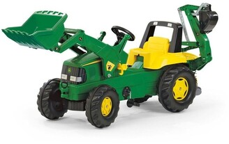 John Deere Ride-On Tractor Toy with Loader & Excavator No