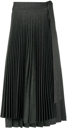 P.A.R.O.S.H. Pleated Flared Midi Skirt