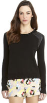 Rachel Roy Sweater/Leather Mix Pullover
