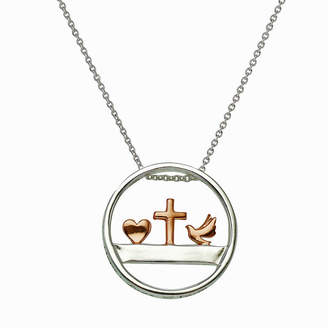 Footnotes Sterling Silver 16 Inch Link Cross Pendant Necklace