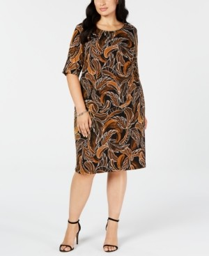 Connected Trendy Plus Size Leaf-Print Sheath Dress