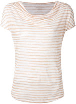 Majestic Filatures cowl neck stripe T-shirt - women - Linen/Flax - II