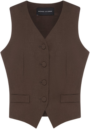 Michael Lo Sordo Women's Relaxed Waist Coat - Brown/white - Moda Operandi