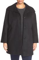Ellen Tracy Wool Blend A-Line Coat (Plus Size)