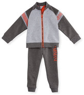 Armani Junior Two-Piece Raglan Track Suit, Gray, Size 12M-3