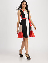 BCBGMAXAZRIA Brit Draped Colorblock Dress