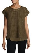 Lafayette 148 New York Open Stitch Sequin Sweater