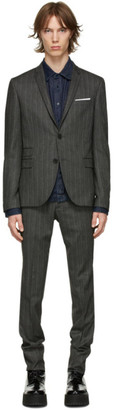 Neil Barrett Grey Twill Stripe Suit