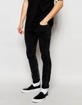 Dr Denim Jeans Snap Skinny Fit Black Aged Wash - Black
