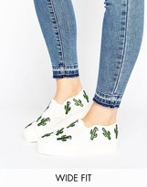 Asos DESERT Wide Fit Cactus Patch Sneakers