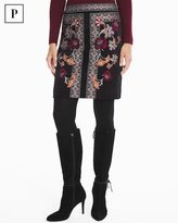 White House Black Market Petite Embroidered Velvet Boot Skirt