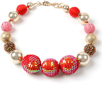 Amrita Singh Women's Necklaces Red - Red Glass & Goldtone Graduated Ball Beaded Choker Necklace