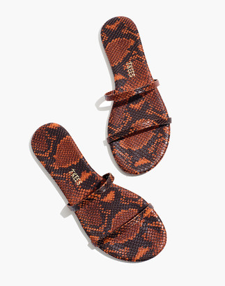 Madewell x TKEES Gemma Vegan Leather Sandals in Snake Embossed