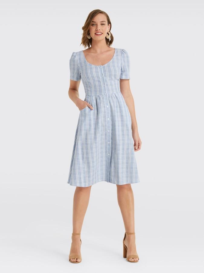 Draper James Linen Button Front Dress
