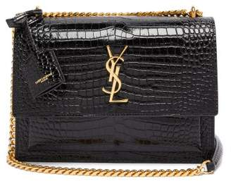 Saint Laurent Sunset Medium Croc-effect Leather Cross-body Bag - Womens - Black