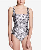 Calvin Klein Printed Pleated One-Piece Swimsuit, Created for Macy's Style Women's Swimsuit