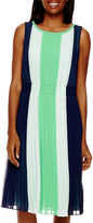 Liz Claiborne Sleeveless Colorblock Pleated Dress - Tall