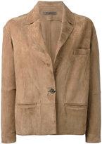 Simonetta Ravizza one-button suede jacket - women - Goat Suede/Cupro - 40