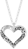 Lois Hill Silver Scroll & Hammered Twist Heart Necklace.