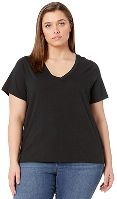 Madewell Plus Size Whisper Cotton V-Neck Tee (True Black) Women's Clothing