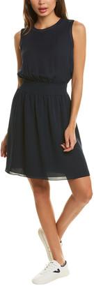 Theory Rib Trim Silk Mini Dress