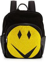 Giuseppe Zanotti Men's Studded Smiley-Face Leather Backpack, Black