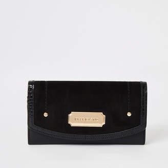 River Island Black faux suede fold over purse