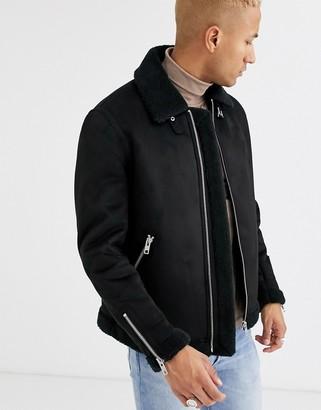 ASOS DESIGN faux suede flight jacket in black