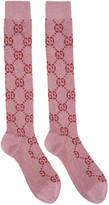 Gucci Pink Lurex Gg Supreme Socks