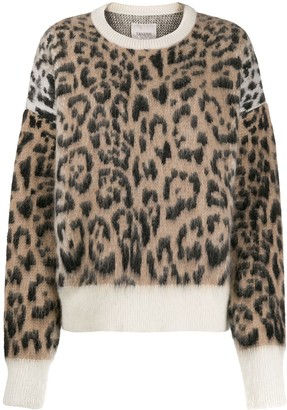 Laneus Leopard Print Knit Jumper