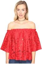 BB Dakota Oregano Floral Eyelet Off Shoulder Top with Bra Bandeau Removable Straps Women's Clothing