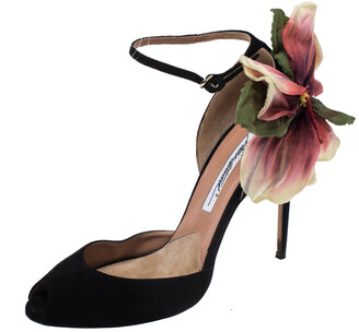 Brian Atwood Black Suede Peep Toe Ankle Strap Oriana Sandals Size 39